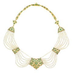 Mogul Emerald and Pearl-Set Gold Necklace