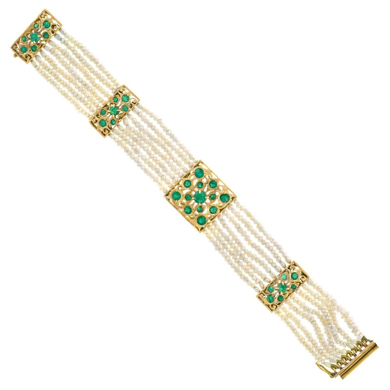 Mogul Emerald and Pearl Gold Bracelet