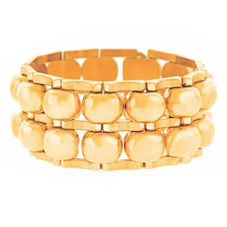 Chunky Art Deco Machine Age Gold Bracelet For Sale