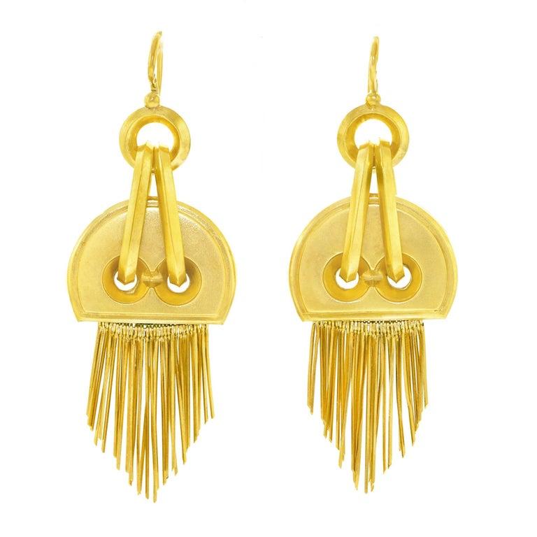 French Victorian Gold Chandelier Earrings