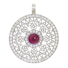 Art Deco Ruby and Diamond Set Platinum Pendant
