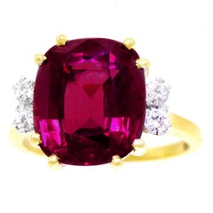 Rhodalite Garnet and Diamond Gold Ring