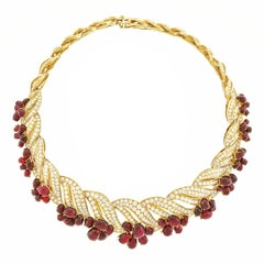 Magnificent Adler No-Heat Ruby and Diamond Gold Necklace