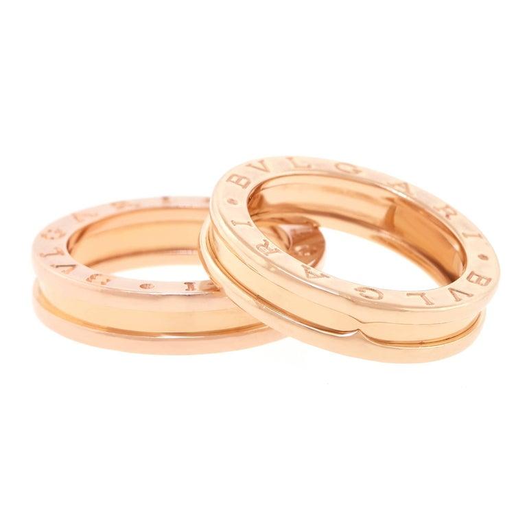 """Pair of Bulgari """"Zero"""" Rose Gold Rings"""