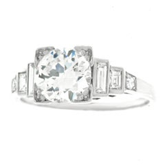GIA Report Art Deco 1.46 Carat Diamond Engagement Ring