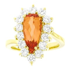 Natural Topaz and Diamond Set Gold Ring