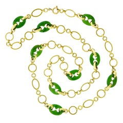 Carved Jade Anchor Link and Gold Necklace