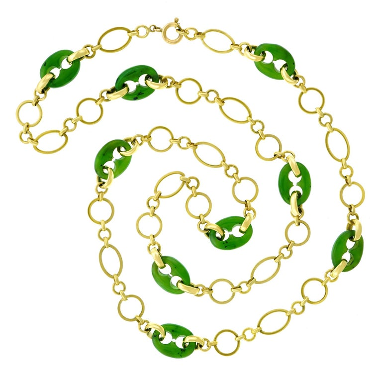 Carved Jade Gucci Link and Gold Necklace For Sale