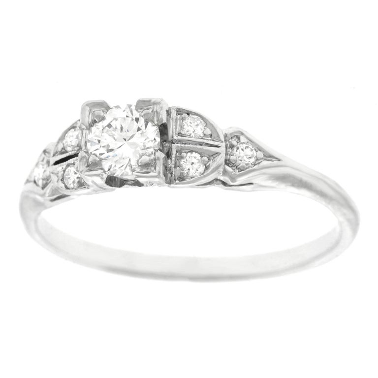 Art Deco Diamond Engagement Ring, Platinum