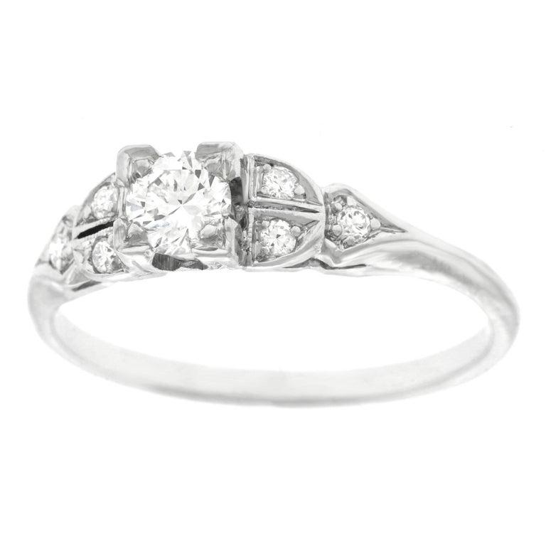Art Deco Diamond Engagement Ring, Platinum