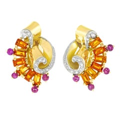 Retro 1940s Citrine, Ruby and Diamond Set Gold Earrings
