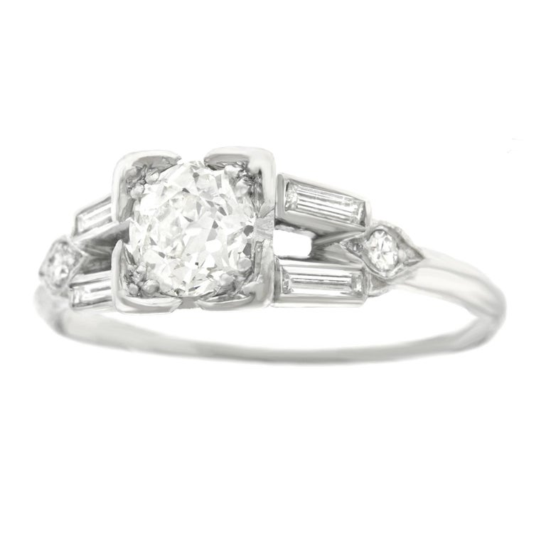 Art Deco Diamond Set Platinum Engagement Ring 1