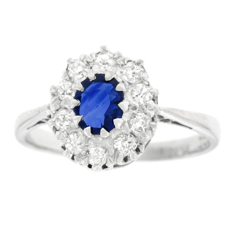 1930s French Sapphire and Diamond Set Gold and Platinum Ring