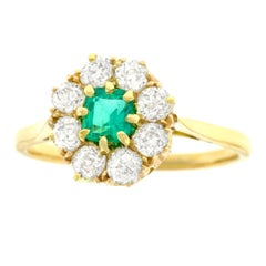 Antique Emerald and Diamond Set Gold Ring