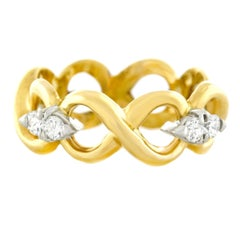 Tiffany & Co. Diamond Set Gold Infinity Ring