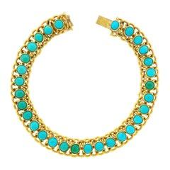 1960s Turquoise Set 22k Gold Bracelet