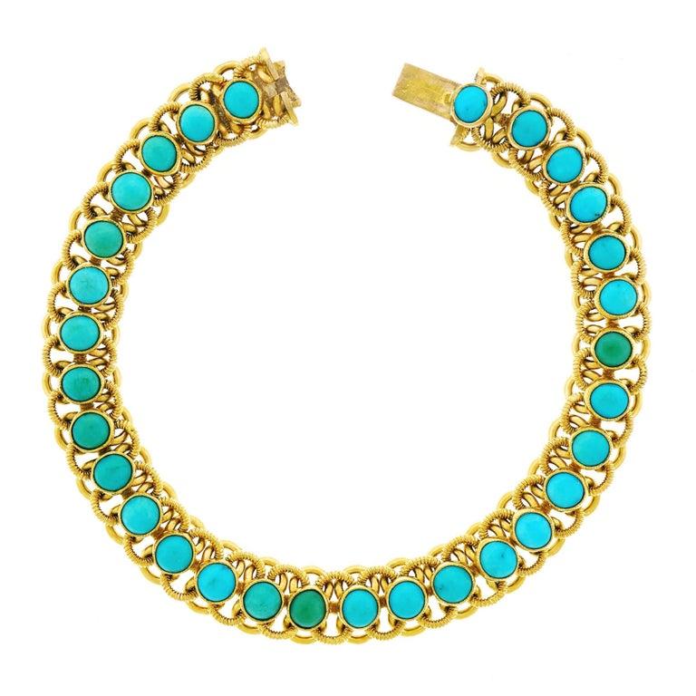 1960s Turquoise Set 22k Gold Bracelet For Sale