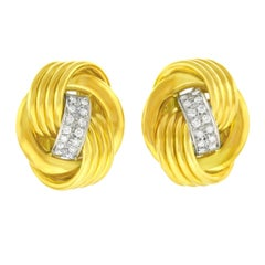 Meister Gold and Diamond Knot Earrings
