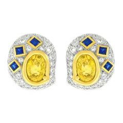 Meister Sapphire and Diamond Set Gold Earrings