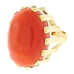 1950s Modernist Gold Ring Set with a Huge Coral