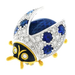 Meister Sapphire, Diamond, and Enamel Lady Bug Brooch in Gold