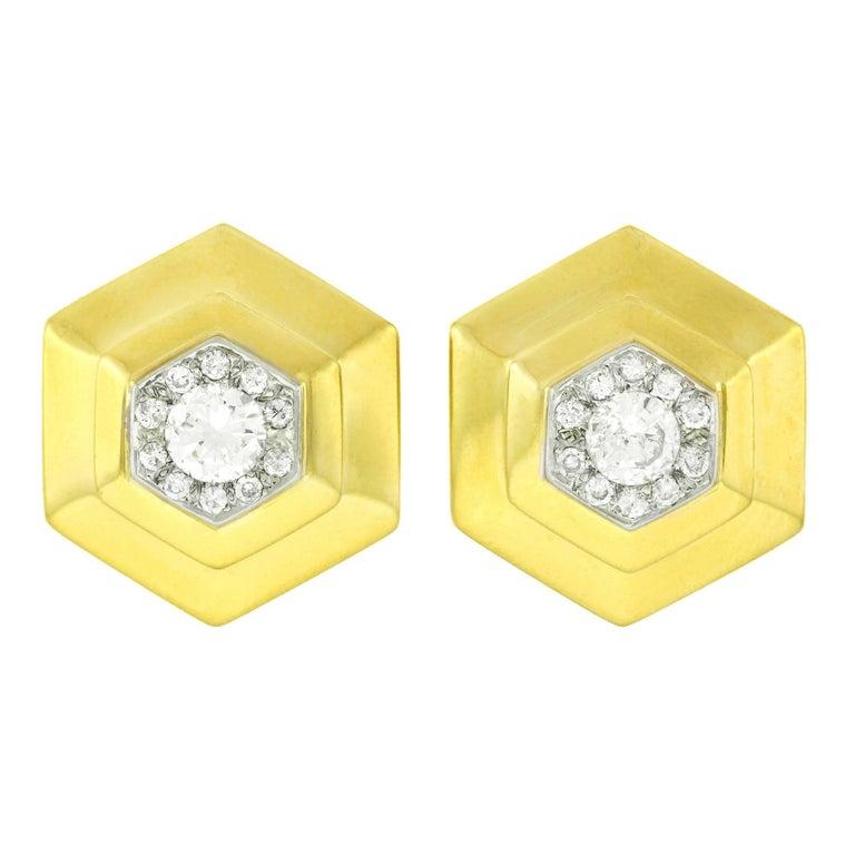 1970s Chic Diamond Set Gold Earrings