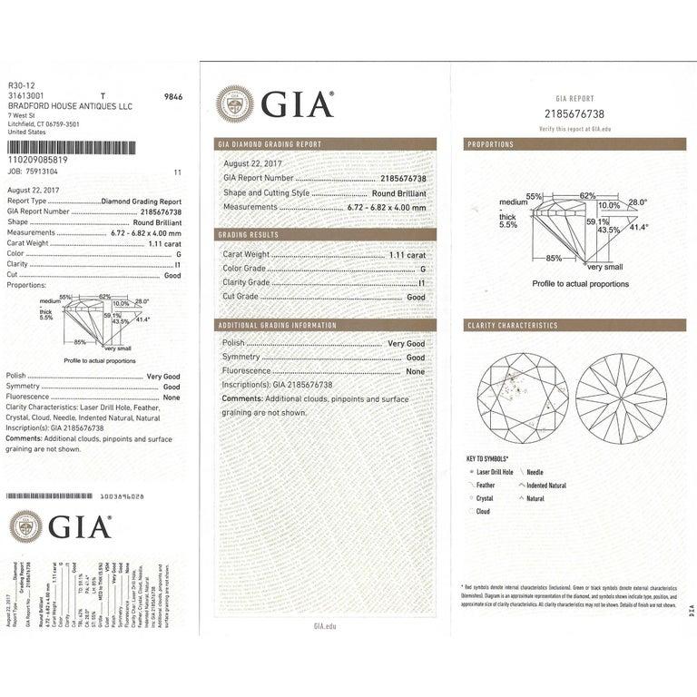 1.11 Carat Diamond Engagement Ring in Platinum GIA For Sale 3