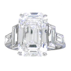 Spectacular 6.64 Carat Art Deco Diamond Ring in Platinum GIA