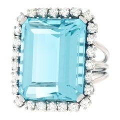 30 Carat Aquamarine and Diamond Ring