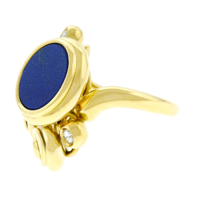 Meister Modernist Lapis and Diamond Set Gold Ring 7