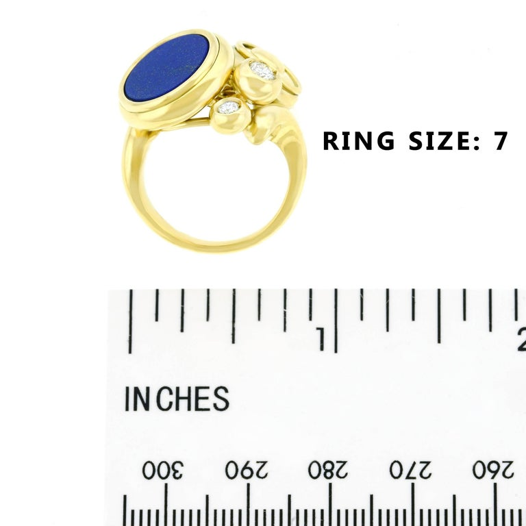 Meister Modernist Lapis and Diamond Set Gold Ring 6