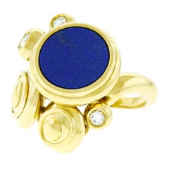 Meister Modernist Lapis and Diamond Set Gold Ring