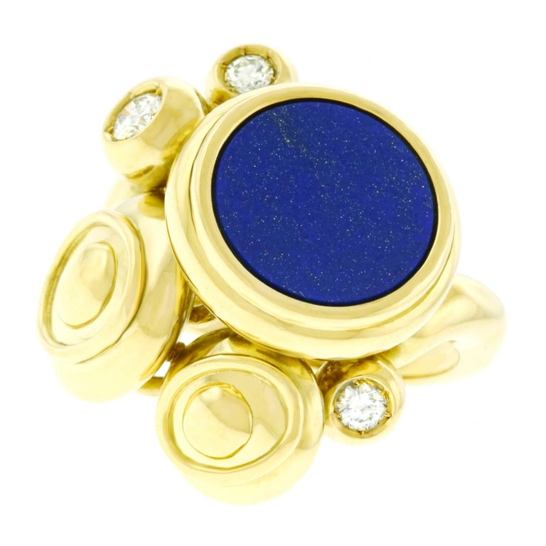Meister Modernist Lapis and Diamond Set Gold Ring 3