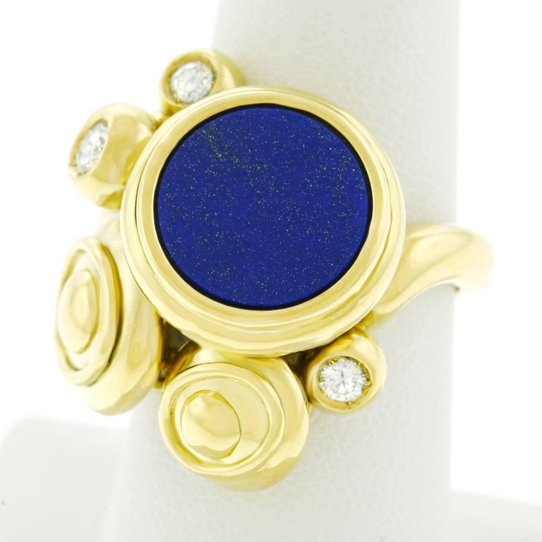 Meister Modernist Lapis and Diamond Set Gold Ring 8