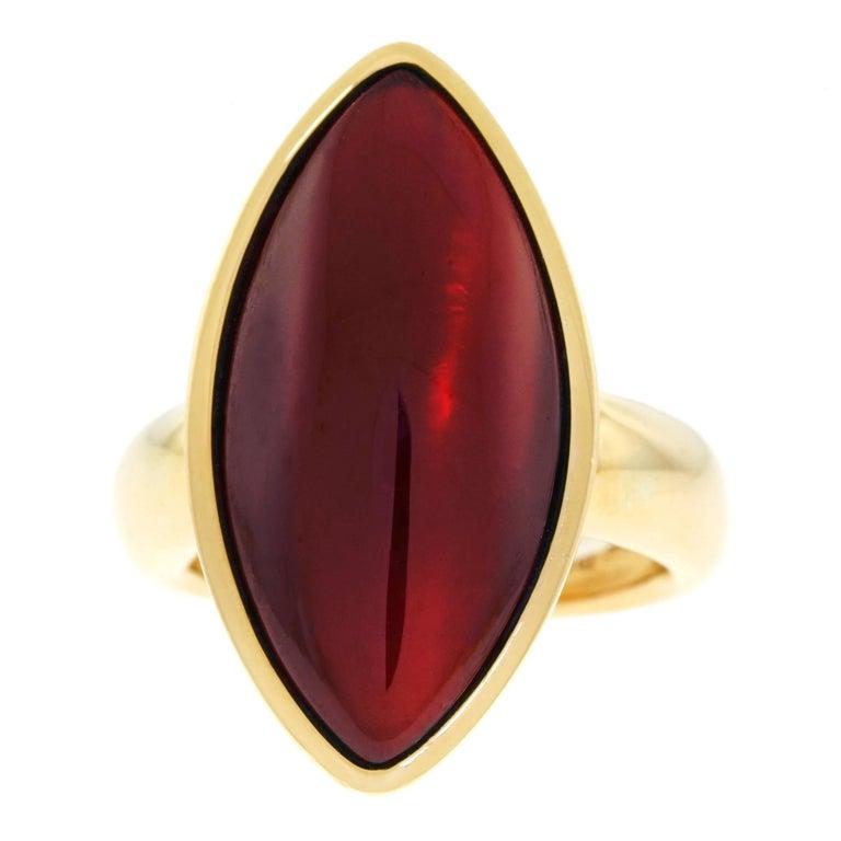 Vhernier Modernist Garnet Set Gold Ring