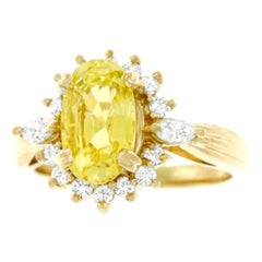 Yellow Sapphire and Diamond Set Gold Ring