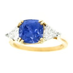 Dorfman 3.40 Carat Burma No-Heat Sapphire Diamond Ring GIA Certified
