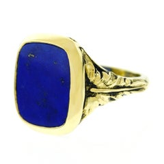 1920s Lapis Set Gold Signet Ring