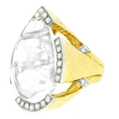 David Webb Rock Crystal and Diamond Set Gold and Platinum Ring