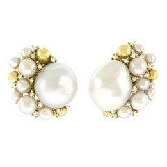 Emil Meister Modernist Pearl and Diamond Set Gold Earrings