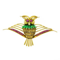 1950s Jade and Ruby Set Gold Owl Brooch