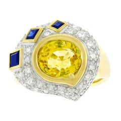 Meister Sapphire and Diamond Set Gold Ring