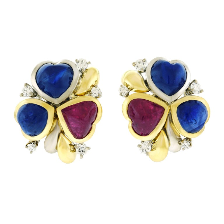 Emil Meister Modernist Sapphire Ruby and Diamond Set Gold Earrings