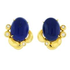 Meister Lapis and Diamond Set Gold Earrings