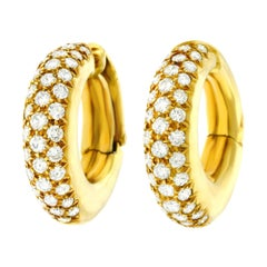 Van Cleef & Arpels Diamond Set Gold Hoop Earrings