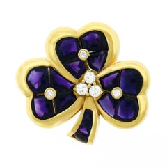 Amethyst and Diamond Set Clover Gold Brooch