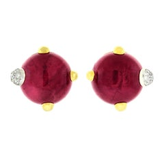 "Pomellato ""Griffe"" Garnet and Diamond Set Gold Earrings"