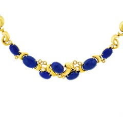 Emil Meister Modernist Lapis and Diamond Set Gold Necklace