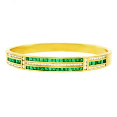Emerald and Diamond Set Gold Bangle