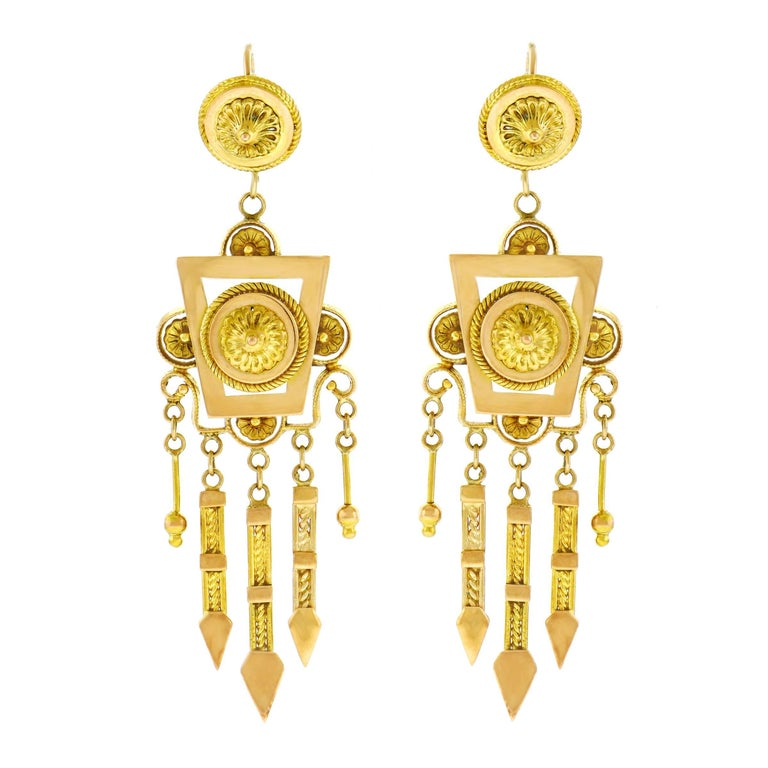 Antique Gold Chandelier Earrings 1 - Antique Gold Chandelier Earrings For Sale At 1stdibs